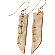 Abstract Birch Bark Earrings on Gold Filled Wires