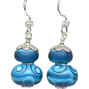 Matte Blue Lamp work and Sterling Earrings