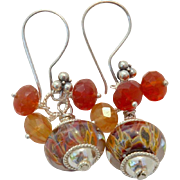 Lamp work and Carnelian Earrings