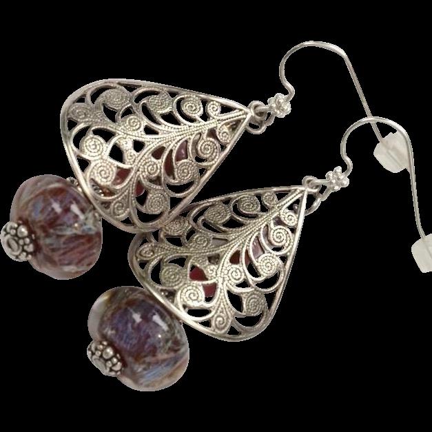 Lampwork Shield Earrings