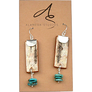 Birch Bark and Turquoise Chip Earrings