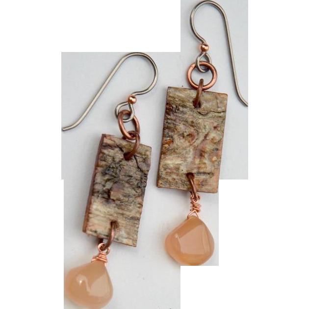 Rustic Birch and Chalcedony Earrings