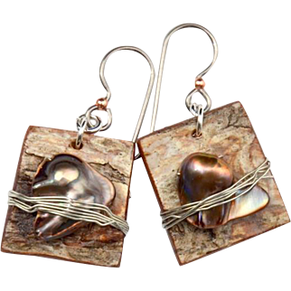 Birch Bark Squares with Wire Wrapped Baroque Pearl