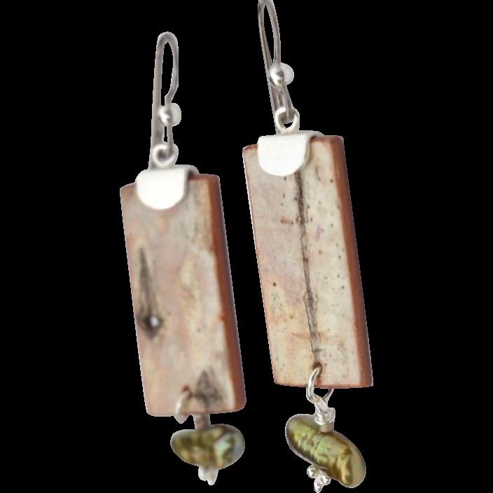 Birch Bark Earrings with Biwa Pearl Dangles