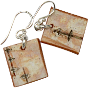 Petite Birch Bark Square Earrings