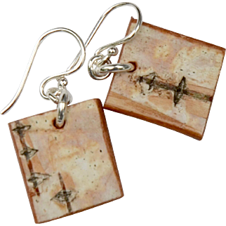 Petite Birch Bark Square Earrings