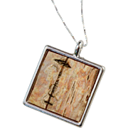 Silver Framed Birch Bark Square Necklace