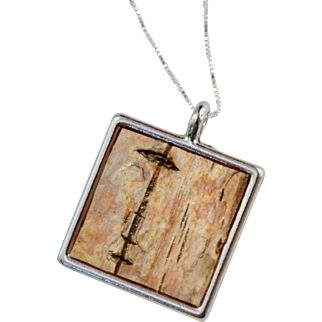 Silver Framed Birch Bark Square Necklace