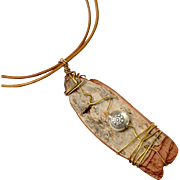 Wire Wrapped Mixed Metal and Birch Bark Pendant