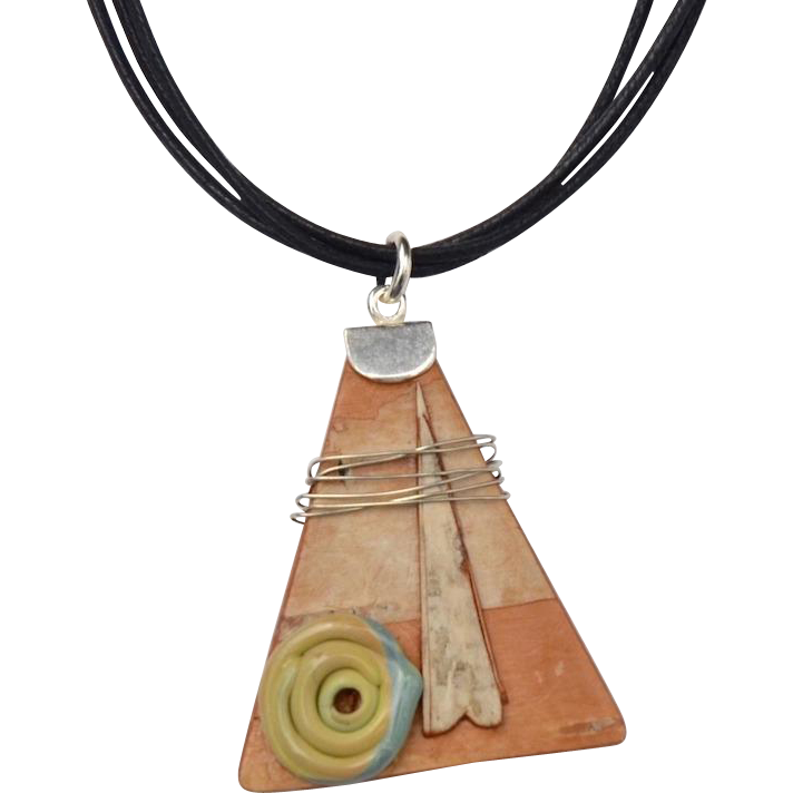Triangle Art Birch and Lamp work Necklace