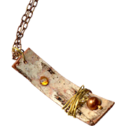 Rustic Birch Bark Pendant with Pearl