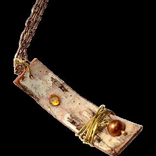 Rustic Birch Bark Pendant with Pearl