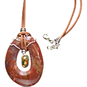Wire Wrapped Jasper and Lamp work Pendant