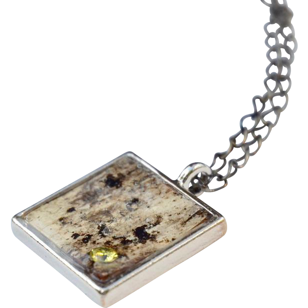 Square Birch Bark and Cubic Zirconia Pendant