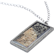Starry Night Paint, Resin, and Birch Bark Pendant Necklace