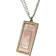 Painted Birch Bark Brass Pendant Necklace