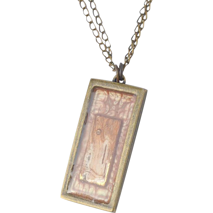 Painted Birch Bark Brass Pendant Necklace