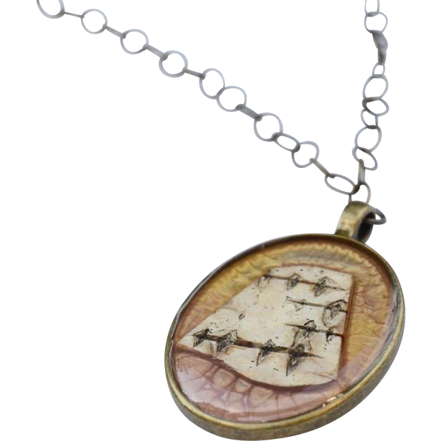 Painted Resin Birch Bark Pendant Necklace