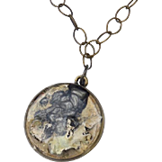Lichen on Birch Pendant and Resin Necklace