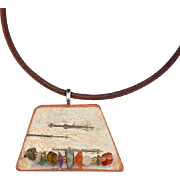 Confetti - Gemstone Chips on Birch Bark Pendant Necklace
