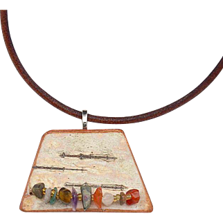 Confetti - Gemstone Chips on Birch Bark Pendant Necklace
