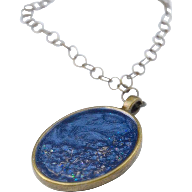 Starry Night Blue and Gold Painted resin Pendant Necklace