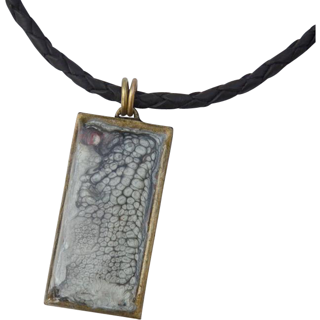 Abstract Art Painted Resin Brass Pendant on Leather