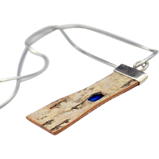 Little Windows Birch and Painted Resin Pendant Necklace