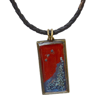 Hand Painted and Resin Pendant on Brass and Leather