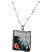 Hand Painted Abstract Art Pendant Necklace