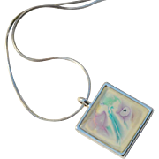 Bright Whites Hand Painted Abstract Pendant Necklace