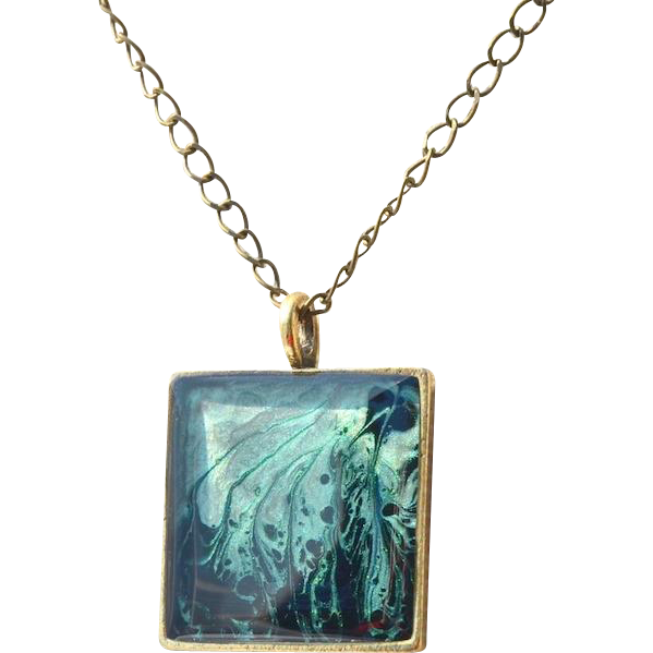 Ethereal Greens Hand Painted Pendant Necklace