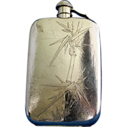 Hip flask in sterling with bamboo embossing