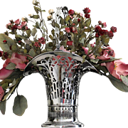 "Stately sterling floral basket 17"" tall, early Gorham ca. 1913"