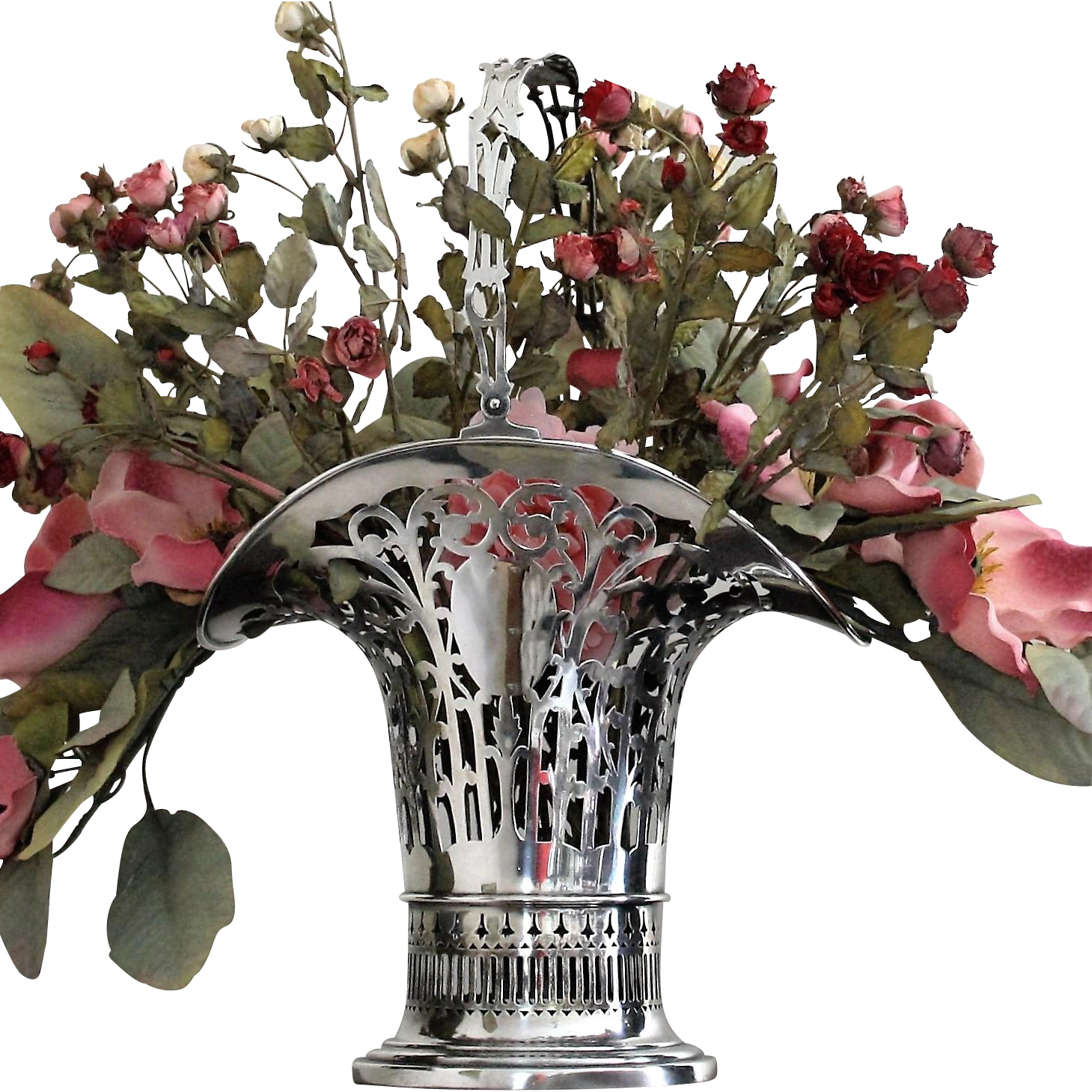 "Stately sterling floral basket 17"" tall vase, early Gorham ca. 1913"