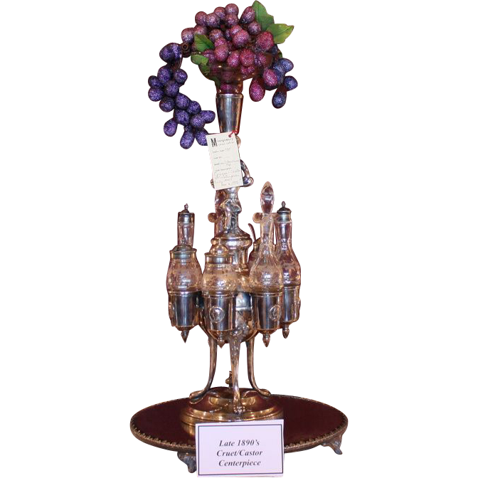 Est. two feet tall epergne/cruet/castor centerpiece