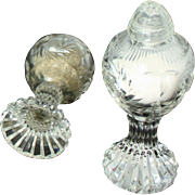 Salt and pepper shakers in cut crystal