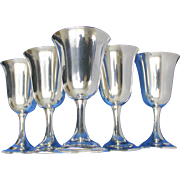 Sterling goblets set of 5 Wallace # 14