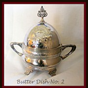 Repousse engraved covered butter dish with insert, ca 1860's - Red Tag Sale Item