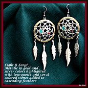Dreamcatcher SW earrings in metallic:  feathers & turquoise & coral colors