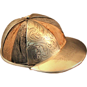 Jockey cap pin cushion in sterling and leather