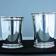 Mint julep cups in silverplate