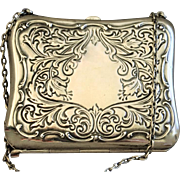 Sterling purse with applied lacing and leather interior