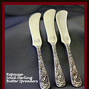 Repousse sterling flat butter spreaders by Kirk