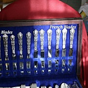 "Strasbourg sterling 32 pc. set 1/4"" less than true dinner size"