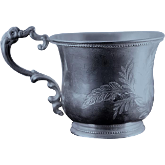 Coin silver cup with brite cut design