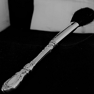 Cosmetic Vanity powder brush in Francis I and Burgundy by Reed and Barton