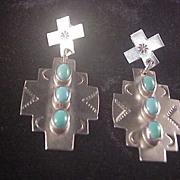 Vintage Navajo Sterling/Turquoise Earrings/Nakai