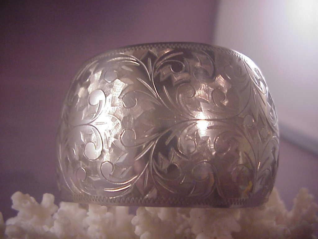 Vintage sterling chased cuff bracelet 950 albert joseph for Naugatuck glass company