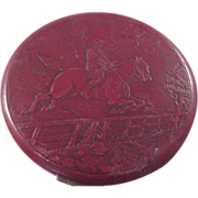 Vintage Lrg. Red Leather Compact/Horse steeple Jumping/Rex/5th Ave/.Box